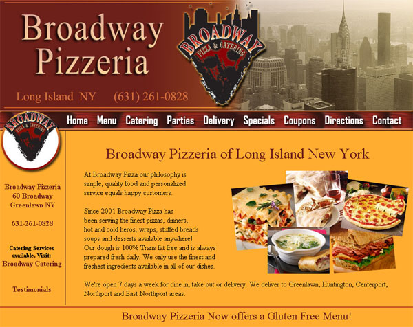 Restaurant website design catering